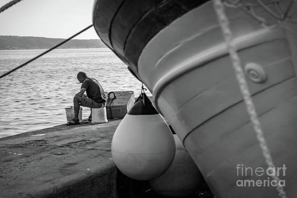 Photograph - Black And White - Fisherman Cleaning Fish On Docks Of Kastel Gomilica, Split Croatia by Global Light Photography - Nicole Leffer