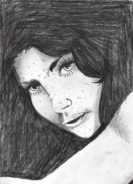 Freckle Drawing - Black And White Freckles by Marta Kazmierska