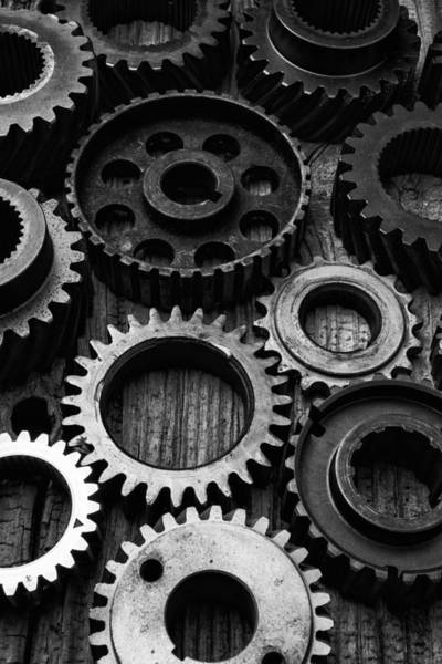 Gears Photograph - Black And White Gears by Garry Gay