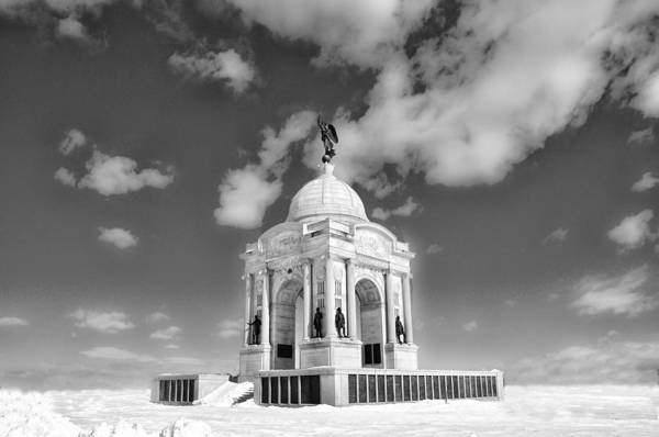 Photograph - Black And White - Gettysburg Memorial In Winter by Bill Cannon