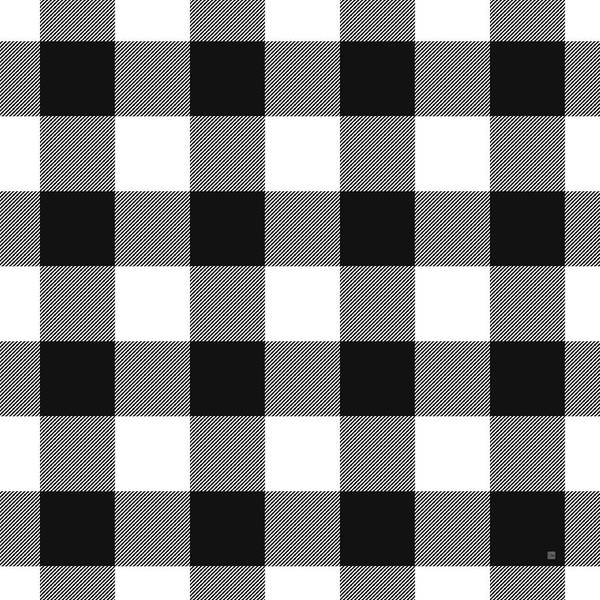 Wall Art - Mixed Media - Black And White Gingham Large- Art By Linda Woods by Linda Woods