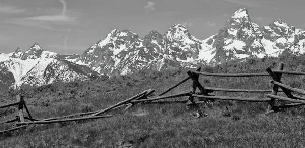 Wall Art - Photograph - Black And White Grand Teton Mountains Old Fence by Dan Sproul