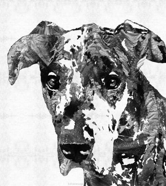 Upbeat Painting - Black And White Great Dane Art Dog By Sharon Cummings by Sharon Cummings