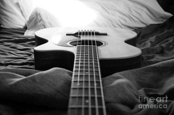 Wall Art - Photograph - Black And White Guitar by MGL Meiklejohn Graphics Licensing
