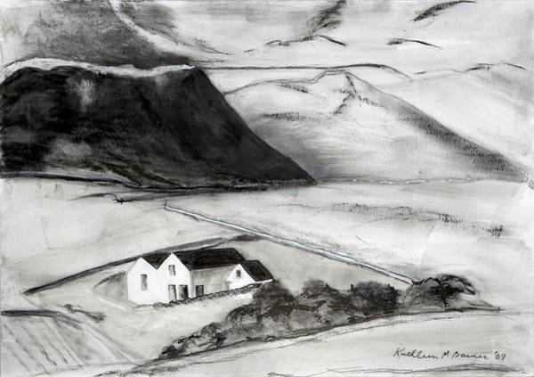 Black And White House And Hills Art Print