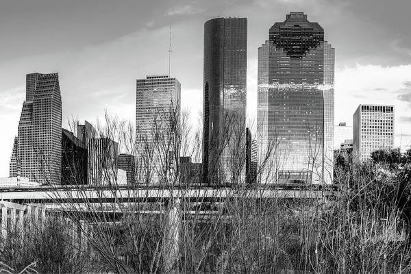 Photograph - Black And White Houston Texas City Skyline by Gregory Ballos