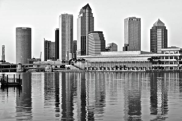Townscape Photograph - Black And White In The Heart Of Tampa Bay by Frozen in Time Fine Art Photography
