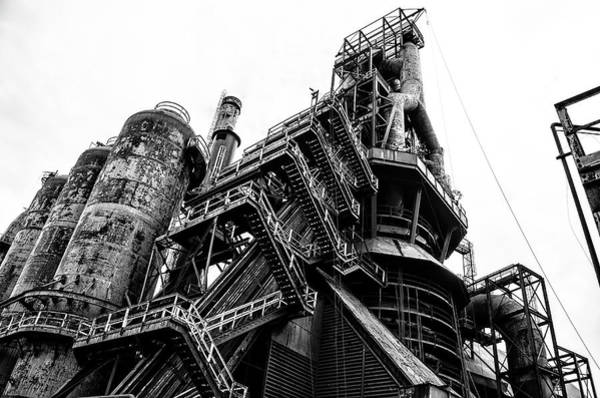 Photograph - Black And White Industrial - Bethlehem Steel by Bill Cannon