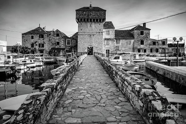 Photograph - Black And White Kastel Gomilica In Kastela, Free City Of Braavos In Game Of Thrones, Split, Croatia by Global Light Photography - Nicole Leffer