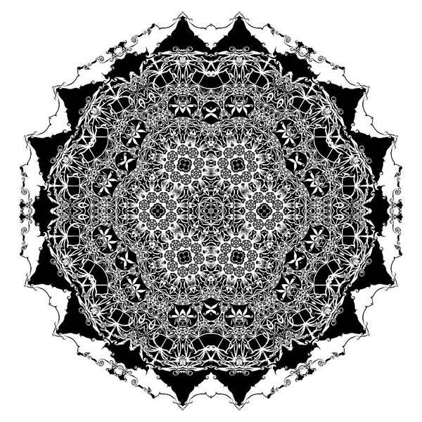 Digital Art - Black And White Mandala 12 by Robert Thalmeier