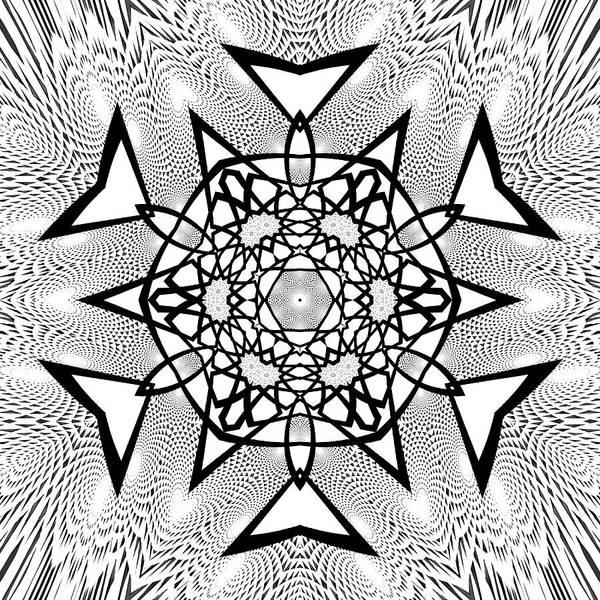 Digital Art - Black And White Mandala 16 by Robert Thalmeier