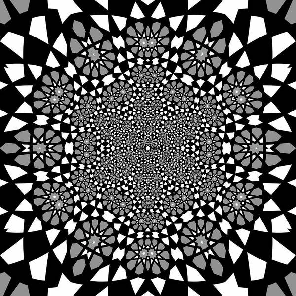 Digital Art - Black And White Mandala 17 by Robert Thalmeier