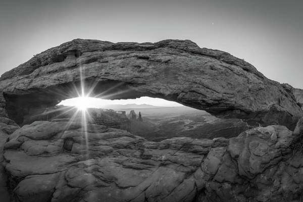 Photograph - Black And White Mesa Arch Sunrise - Canyonlands National Park Utah by Gregory Ballos