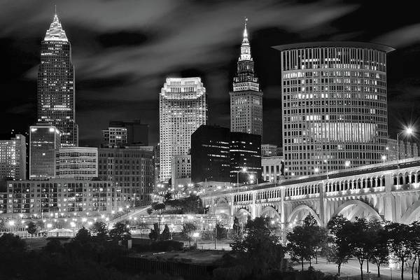 Wall Art - Photograph - Black And White Night In The Big City by Frozen in Time Fine Art Photography