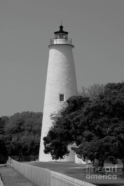 Photograph - Black And White Ocracoke Lighthouse by Jill Lang