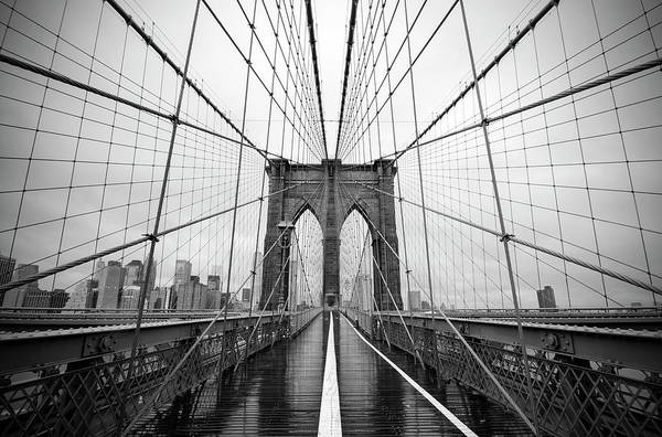 Wall Art - Photograph - Black And White Of The Brooklyn Bridge by Stamp City