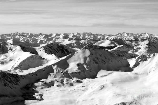Black And White Of The Summit Of Mount Elbert Colorado In Winter Art Print