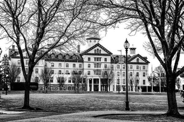 Photograph - Black And White - Old Main - Widener University by Bill Cannon