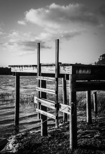 Photograph - Black And White Old Time Dock by Parker Cunningham
