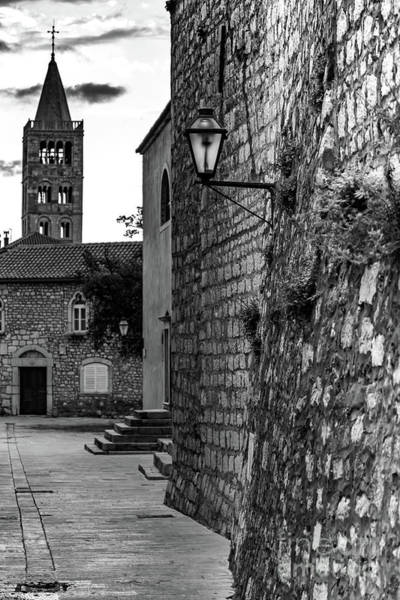 Photograph - Black And White, Old Town Rab Streetscape, Rab, Croatia by Global Light Photography - Nicole Leffer