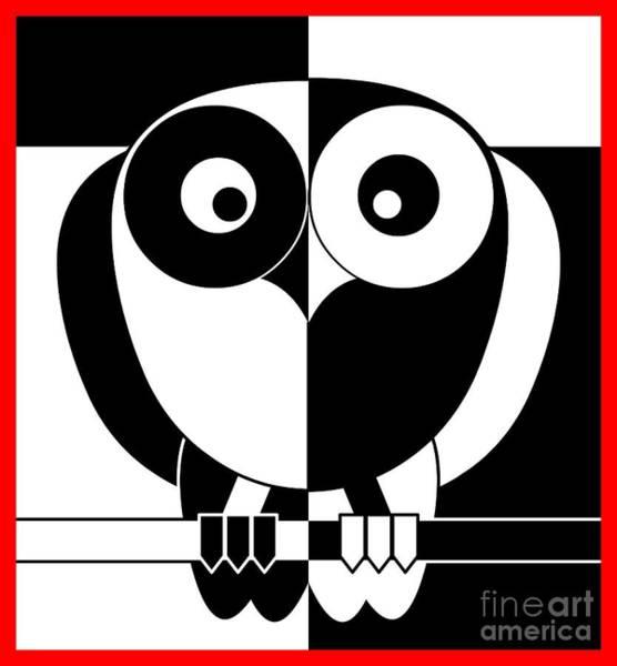 Black And White Owl Art Print by Santi Goma Rodriguez