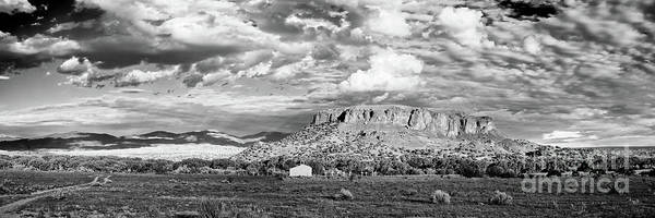 Land Of Enchantment Photograph - Black And White Panorama Of Black Mesa And Surroundings - San Ildefonso Pueblo New Mexico  by Silvio Ligutti