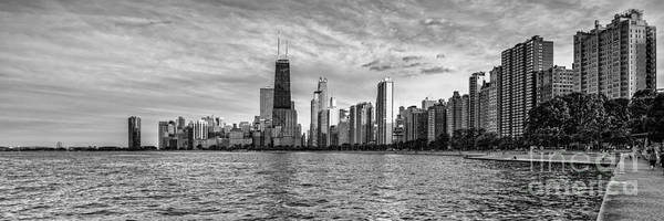 Photograph - Black And White Panorama Of Chicago From North Avenue Beach Lincoln Park - Chicago Illinois by Silvio Ligutti