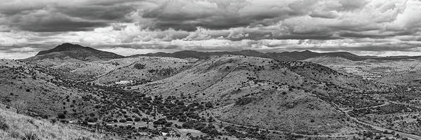 Photograph - Black And White Panorama Of Davis Mountains State Park - Keesey And Limpia Canyons Fort Davis Texas by Silvio Ligutti