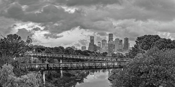 Wall Art - Photograph - Black And White Panorama Of Downtown Houston And Buffalo Bayou From The Studemont Bridge - Texas by Silvio Ligutti