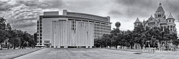 Wall Art - Photograph - Black And White Panorama Of Jfk Memorial And Old Red Museum - Dallas Texas by Silvio Ligutti