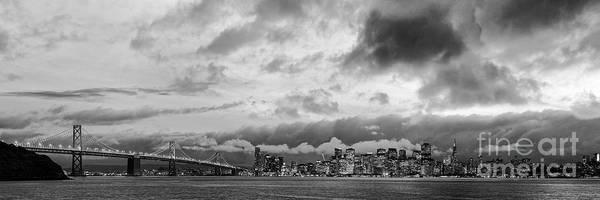 Black And White Panorama Of San Francisco Skyline And Oakland Bay Bridge From Treasure Island  Art Print