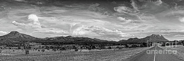Photograph - Black And White Panorama Of Sawtooth Mountain And Davis Mountains Nature Preserve - Fort Davis Texas by Silvio Ligutti