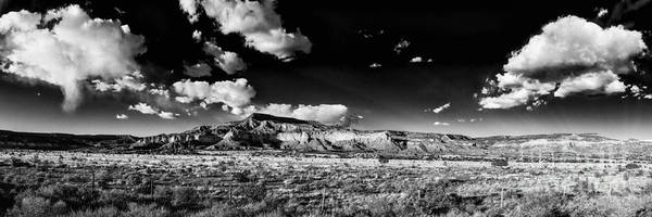 Chama Photograph - Black And White Panorama Of The Ghost Ranch Area A Tribute To The Master - Abiquiu New Mexico by Silvio Ligutti