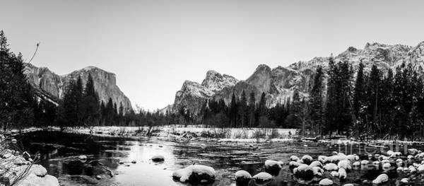 White Wall Art - Photograph - Black And White Panorama Of Yosemite Park With El Capital In The by PorqueNo Studios