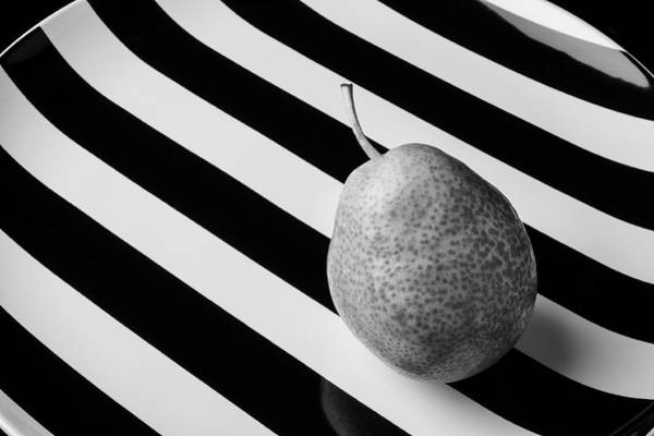 Wall Art - Photograph - Black And White Pear On Striped Plate by Garry Gay