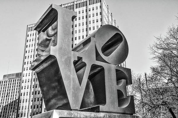 Wall Art - Photograph - Black And White Philly Esque  - Love Statue  by Bill Cannon