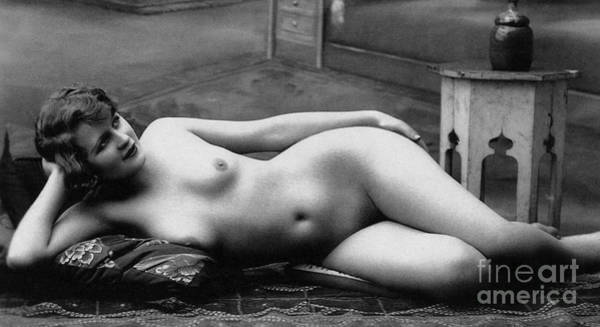 Wall Art - Photograph - Black And White Photo Of Female Erotic Nude by French School