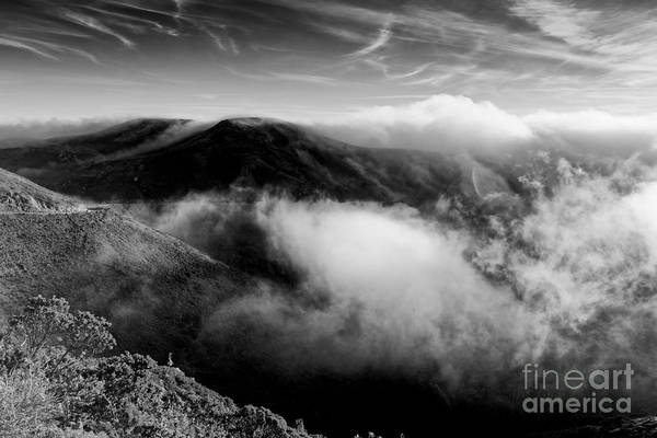 Hawk Creek Photograph - Black And White Photograph Of Fog Rising In The Marin Headlands - Sausalito Marin County California by Silvio Ligutti