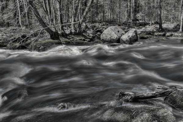 Photograph - Black And White Prairie River Rapids by Dale Kauzlaric