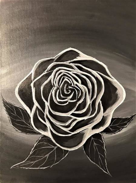 Wall Art - Painting - Black And White Rose by Willy Proctor