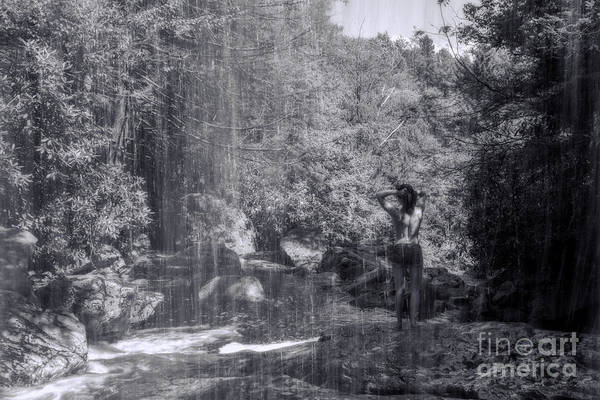 Photograph - Black And White Scene At Falls by Dan Friend