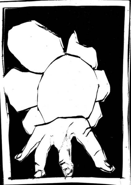 Digital Art - Black And White Series - Hand And Flower by Artist Dot