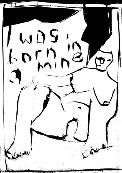 Digital Art - Black And White Series - I Was Born In A Mine by Artist Dot
