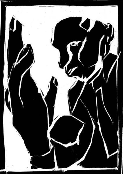 Digital Art - Black And White Series - Man And Hand by Artist Dot