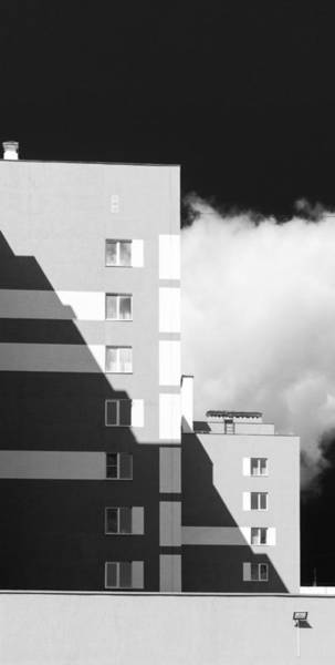 Photograph - Black And White Shadows N Modern Housing Blocks by John Williams