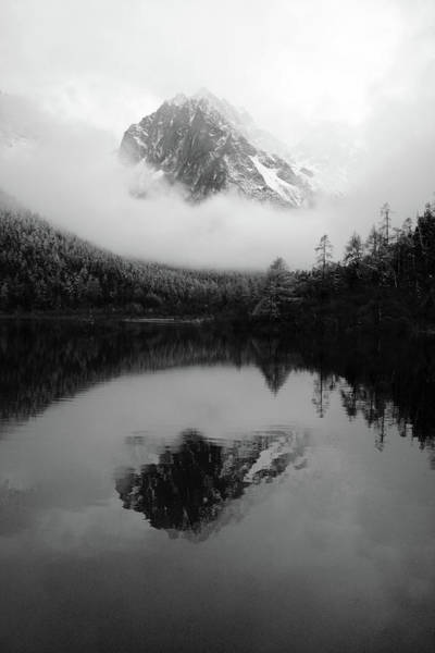 Wall Art - Photograph - Black And White Sichuan Mountains by Artpics