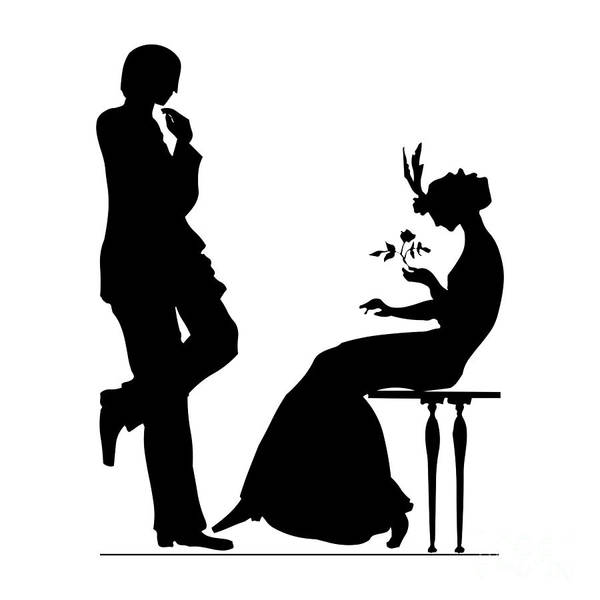 Digital Art - Black And White Silhouette Of A Man Giving A Woman A Flower by Rose Santuci-Sofranko