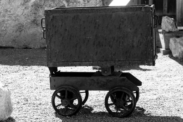 Photograph - Black And White Silver Mine Cart by Colleen Cornelius