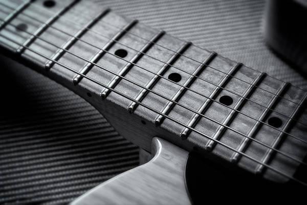 Fret Board Photograph - Black And White Six String by Matt Hammerstein