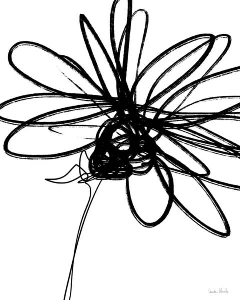 Wall Art - Drawing - Black And White Sketch Flower 4- Art By Linda Woods by Linda Woods